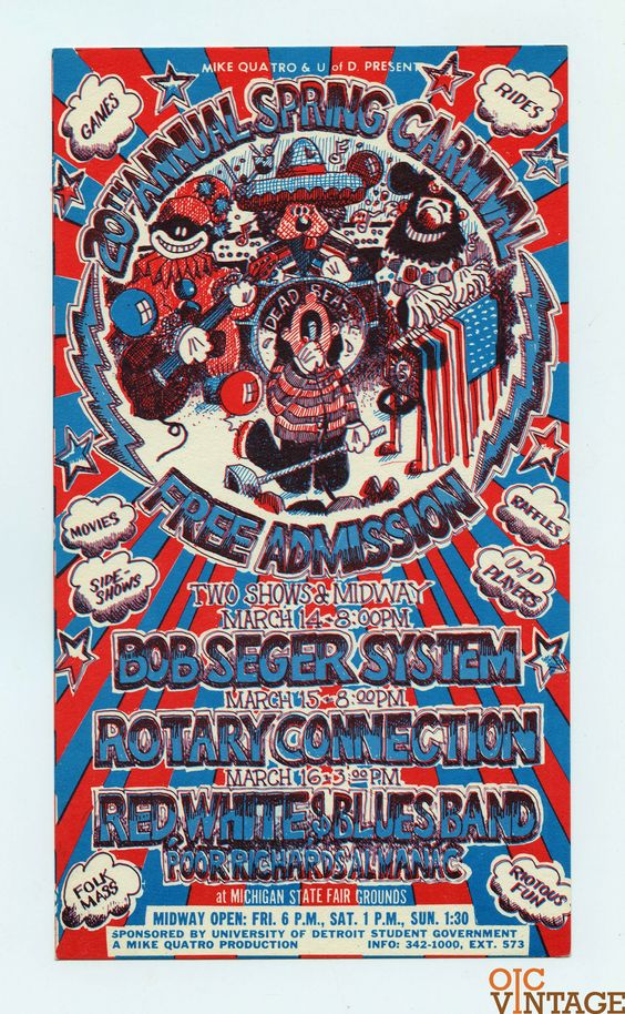 20th Annual Spring Carnival Bob Seger 1969 Mar 14 Michigan State Fair Handbill
