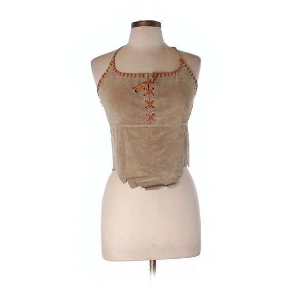 Pre-owned Bebe Leather Top Size 8: Tan Women's Tops ($20) ❤ liked on Polyvore featuring tops, tan, leather top, brown leather top, bebe, brown tops and bebe tops