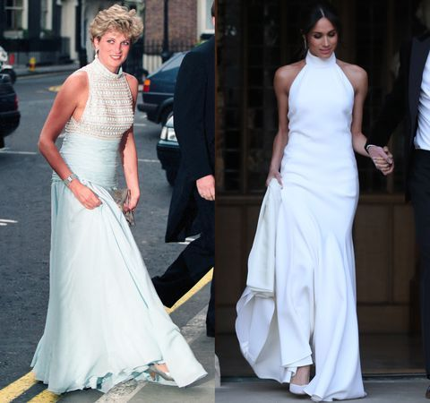 Take A Look Back At Meghan Markle S Gorgeous Reception Dress Princess Diana Dresses Meghan Markle Dress Wedding Party Dresses