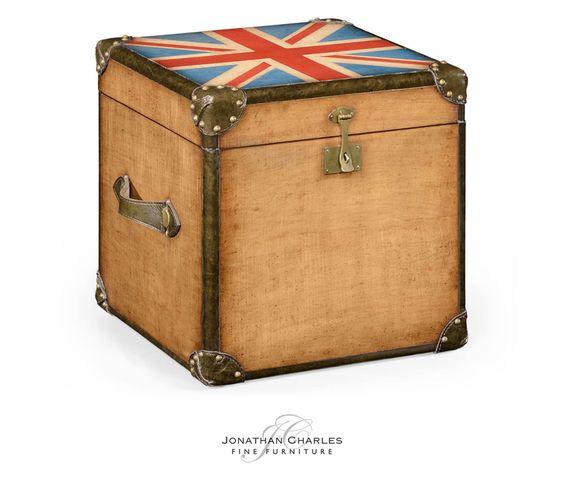 Union Jack square trunk  #hpmkt #jcfurniture #jonathancharles #Furniture #InteriorDesign #decorex #unionjack