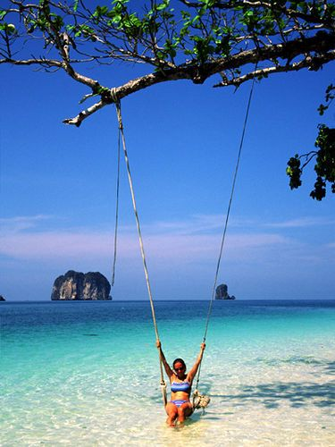 This reminds me sooo much of a swing which me and ted always went on in thialand it swang from the beach and over the shore of the sea hx