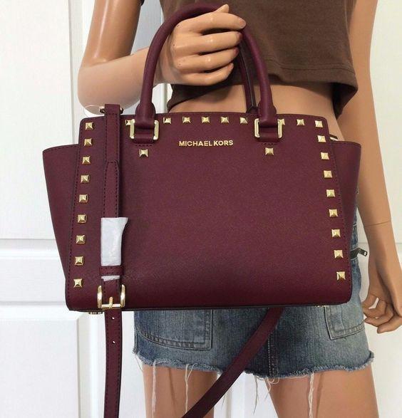 MICHAEL KORS Selma Saffiano Leather Medium Satchel Tote Bag Handbag Purse Merlot #MichaelKors #ShoulderBag
