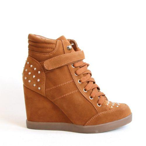 Stiefeletten-Braun-Camel-37-Keilabsatz-Wedges-Damenschuhe-Boots-Sneaker-Nieten