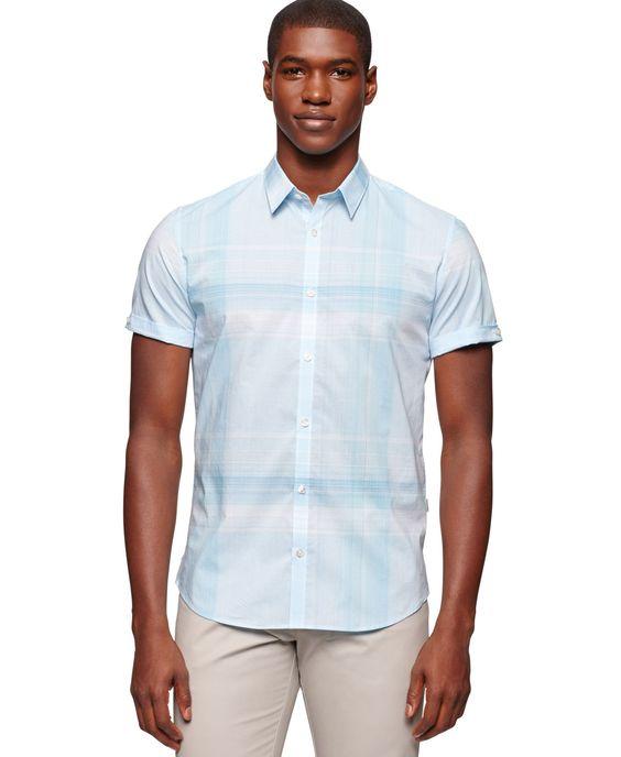 Calvin Klein Ombre Plaid Slim-Fit Shirt