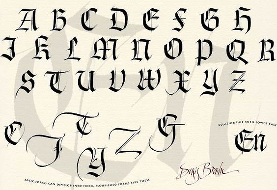 Gothic Calligraphy Alphabet And Calligraphy On Pinterest