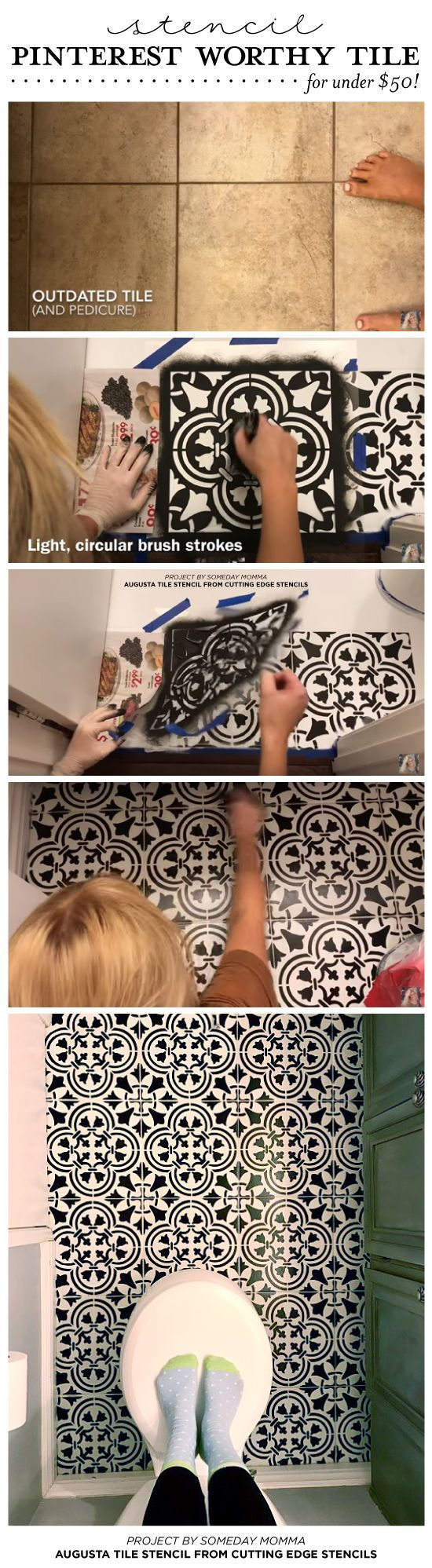 DIY painted and stenciled ceramic tile floor