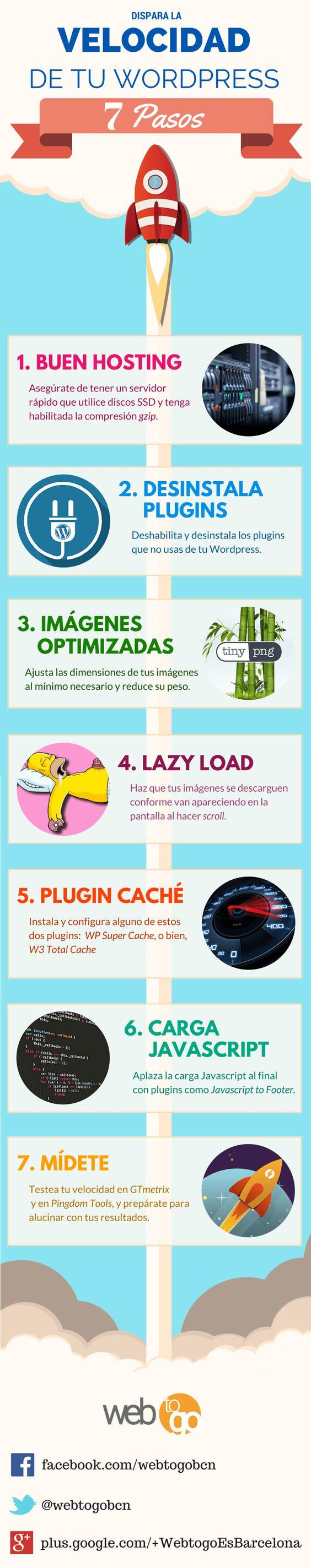 7 pasos para disparar la velocidad de tu WordPress #infografía