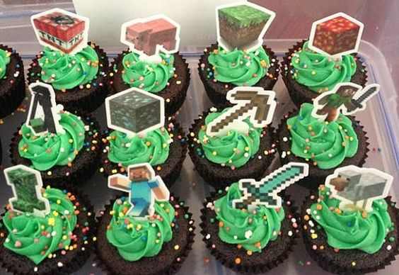 12 x edible wafer minecraft cupcake cake by toppthatcupcake