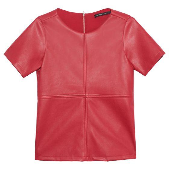 Blusa classic couro eco - vermelha