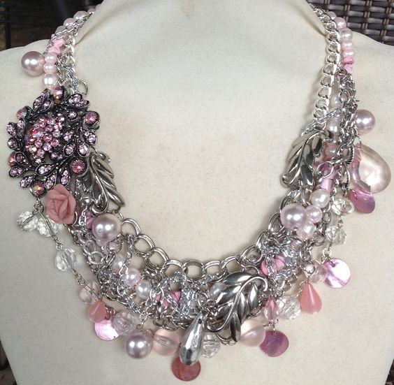 Pink and silver statement by Serket jewelry