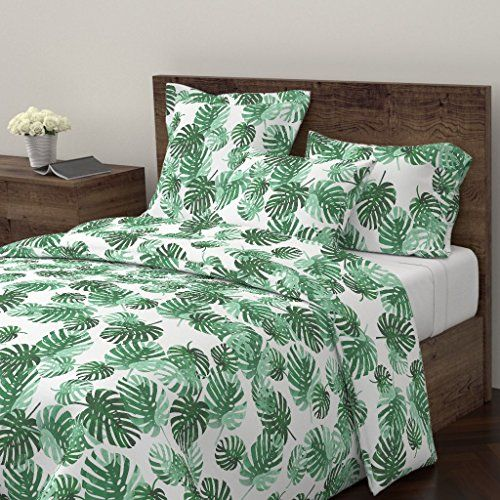 Leaves Palm Botanical Tropical Jungle 100/% Cotton Sateen Sheet Set by Roostery