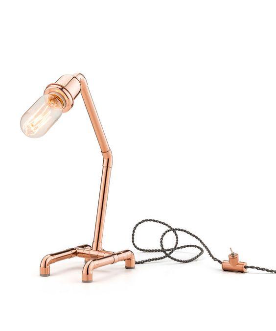Luminária cobre + lampada filamento de carbono.: