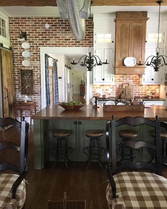 30 Farmhouse Kitchen With New England Fieldstone Accent Wall Country Kitchen Kitchen Renovation Brick Kitchen