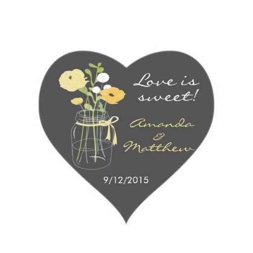 Yellow and Grey Mason Jar Wedding Favor Stickers
