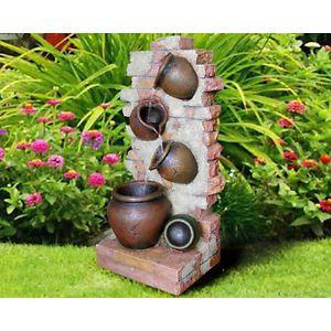 Fuente de resina para jardin jarrones 38x29x83 cm - Fuentes y cascadas de agua para jardin ...