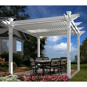 Elysium 12 X 12 Attached Louvered Vinyl Pergola White Walmart Com Louvered Pergola Outdoor Pergola Backyard Pergola