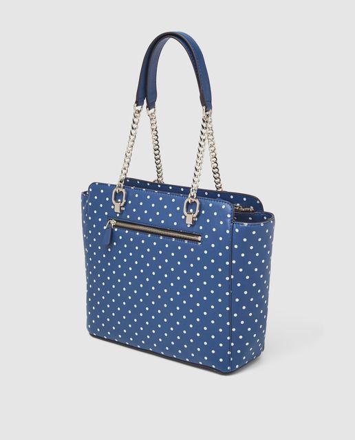 Bolso de hombro Guess Annarita en azul con estampado de lunares