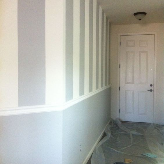 Painting Walls Two Colors With Chair Rail: Vertical Stripes + Chair Rail