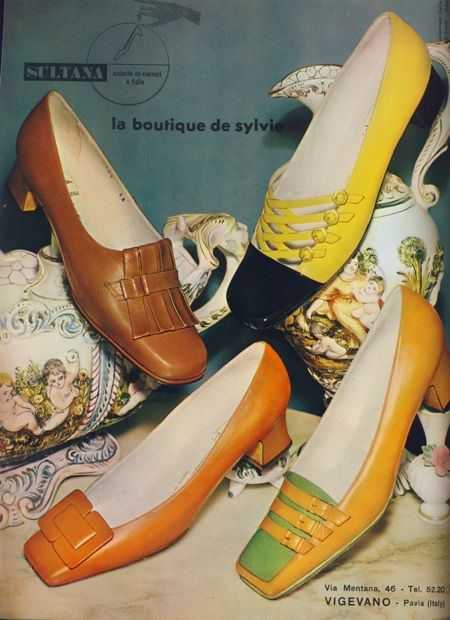 1960s Shoes-- I remember wearing similar shoes. Quite often there were handbags to match.