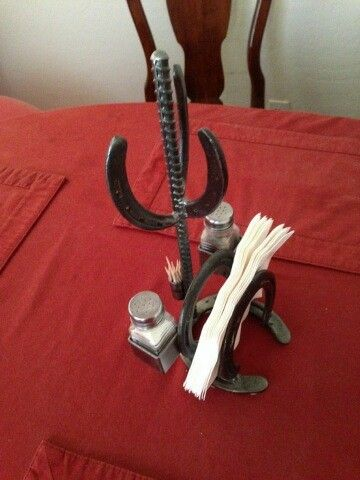 Rebar Horse Shoe Napkin Salt Pepper Toothpick Holder Cactus Cool Diy Decor Pinterest