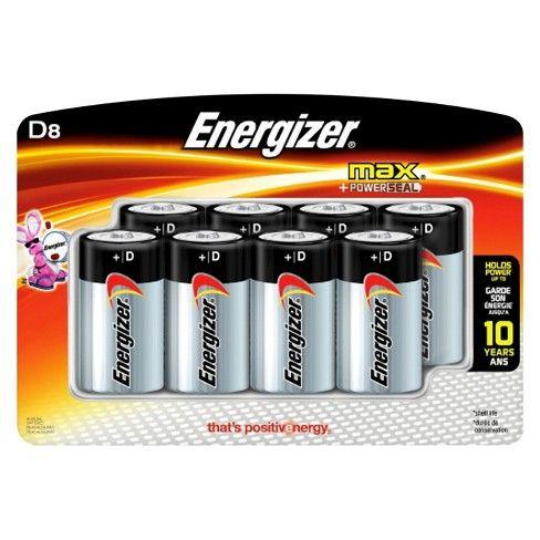 Energizer 8pk Max Alkaline D Batteries Energizer Alkaline Battery Batteries