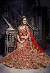 Red Art Dupion Silk Lehenga Choli with Dupatta
