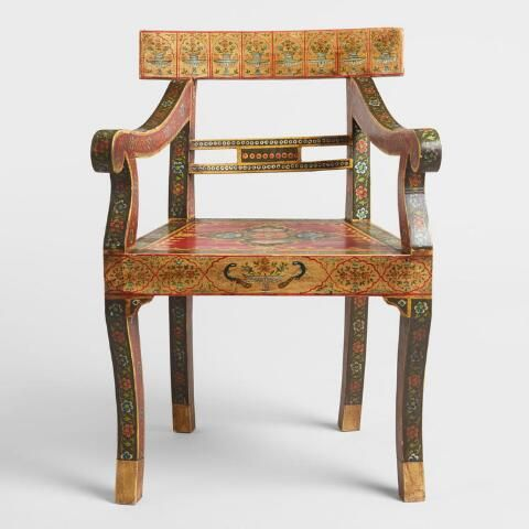 Red Painted Mughal Chair World Market Chair Vintage Dining Chairs Red Paint