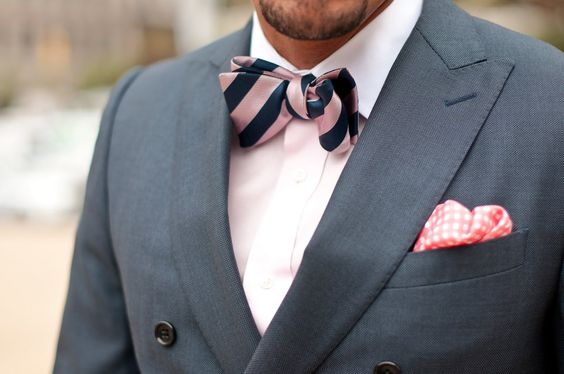 Gray suit with navy and pink