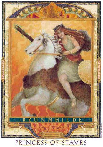 Free Daily Tarotscope — Jan 25, 2015 — The Princess of Staves -- from the gorgeous Lover's Path Tarot — is this deck's version of the Page of Wands.  All of the Pages are Princesses in this deck,and this one — Brünnhilde — is one of the boldest, most dynamic and courageous of all. She was a Valkyrie, one of Odin's servants, a fiery and rebellious messenger goddess who defied his directives and was imprisoned in a ring of fire as a result. (more) ...