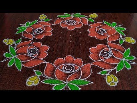 Sankarthi Chukkala Muggulu 13 7 Dot S Beautiful Roses Rangoli Youtube In 2020 Free Hand Rangoli Design New Rangoli Designs Rangoli Designs For Competition