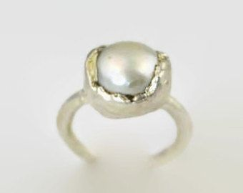 Natural Freshwater Pearl Ring / White Pearl / Electroformed / Fine Silver / Copper / 24kt Gold / gunmetal / Made to Order / Bridal Ring