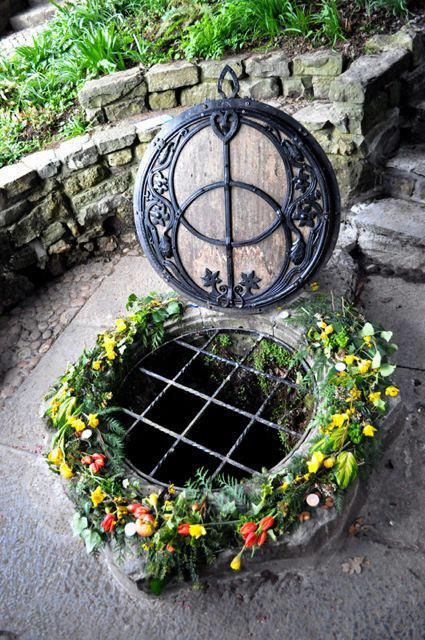 The Chalice Well, Glastonbury, England Also known as 'The Well of Avalon'  Archaeological evidence suggests that the well has been in almost constant use for at least two thousand years. Water issues from the spring at a rate of 25,000 gallons per day and has never failed, even during drought. The water is believed to possess healing qualities.