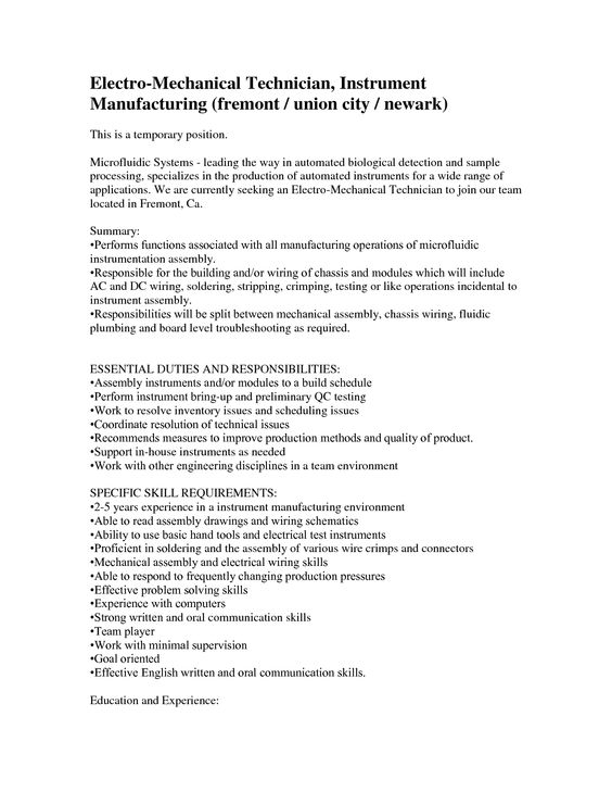 Electro Mechanical Technician Resume Sample -    www - product support specialist sample resume