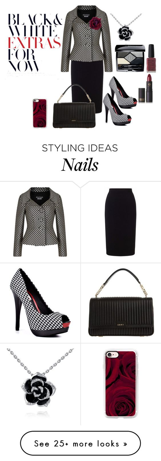 """Polka dot blazer"" by janie-xox on Polyvore featuring Two Lips, Roland Mouret, Boutique Moschino, DKNY, Casetify, Christian Dior, Kester Black and Lipstick Queen"