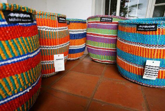Colourful raffia baskets