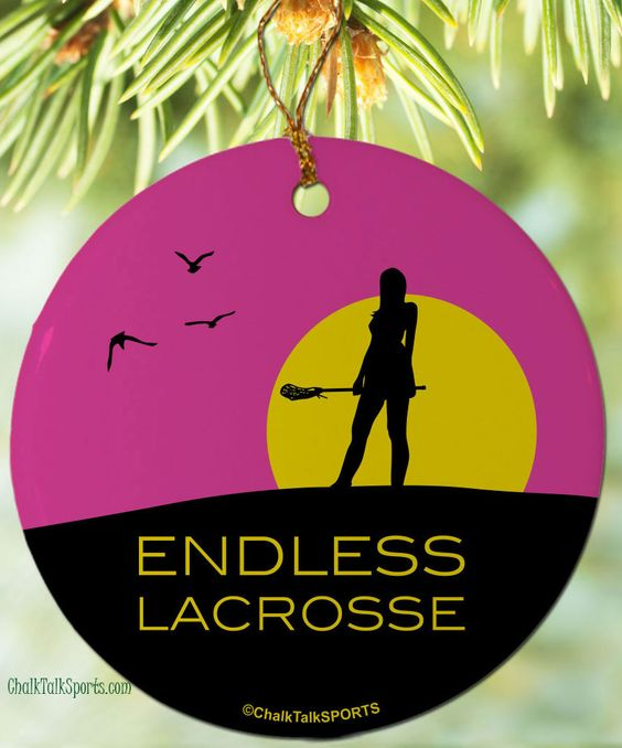 Any laxer knows that lacrosse is endless! Hang this on your tree to show your love of the game.
