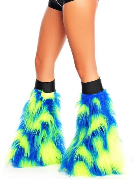 Camo Blue and Yellow Insanity Fluffy GoGos - FREE SHIPPING available on Rave Clothing and Clubwear!    edc choices