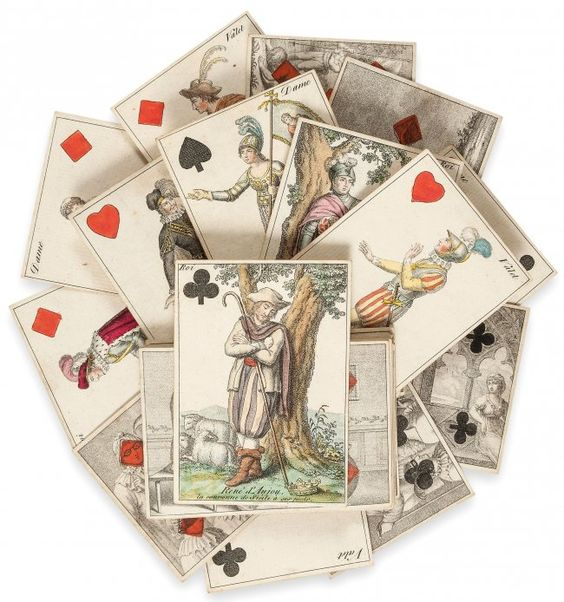full set of 52 cards, engraved.