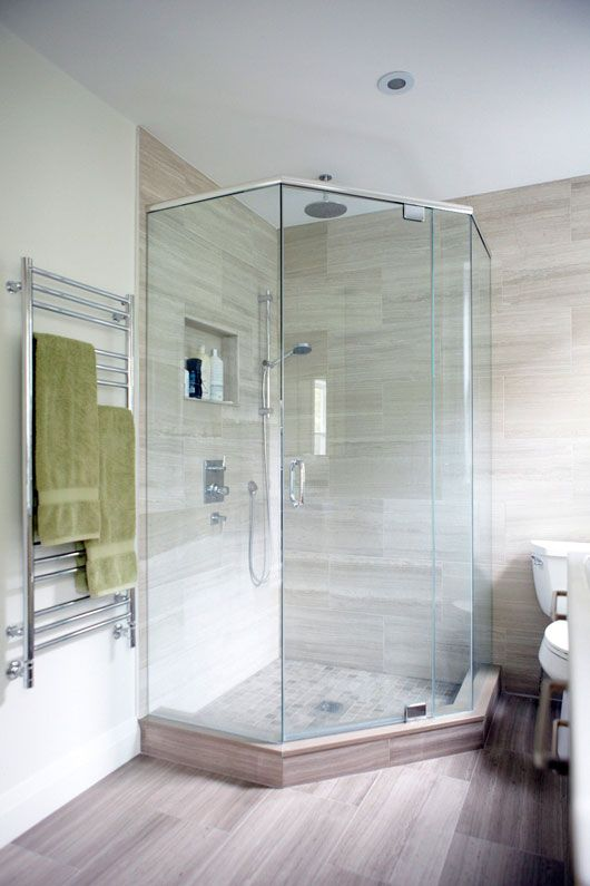 Real people showers and corner showers on pinterest for Shower reno
