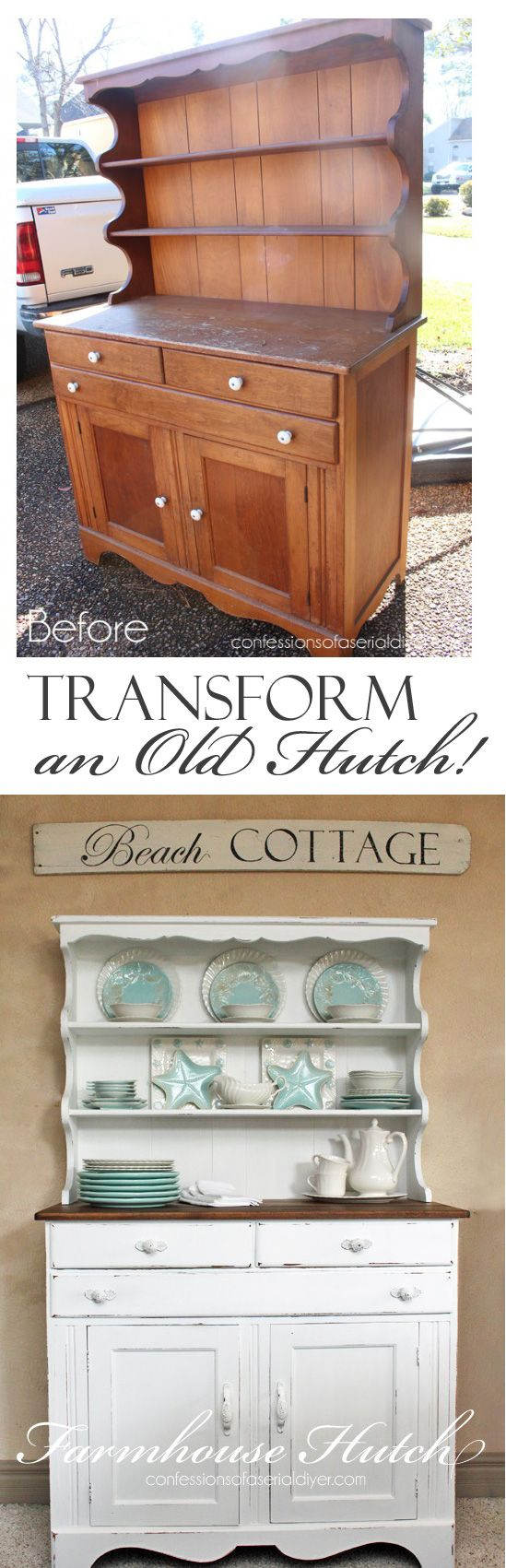 Farmhouse Hutch Makeover from Confessions of a Serial Do-it-Yourselfer: