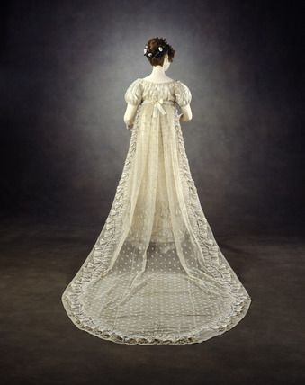 Princess Charlotte's bell flower gown: Back view. Embroidered net dress with court train.