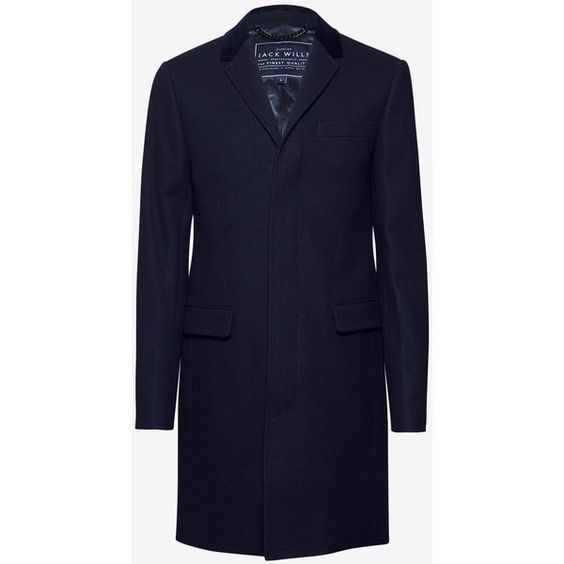 THEARNE MELTON OVERCOAT (1 130 ZAR) ❤ liked on Polyvore featuring outerwear, coats, melton coat, over coat, jack wills coat, jack wills and blue coat