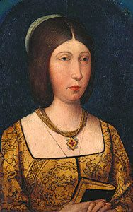 Isabel I (1451-1504), Queen of Castile-Leon (1474-1504) in her own right. She was the daughter of King Juan II and his wife, Isabel of Portugal. She was The Princess of Girona (1469-1479) and Queen of Aragon (1479-1504) as the wife of King Ferrando II (King Fernando V as her co-ruler). Her surviving children were The Infante Juan The Prince of Asturias, and the Infantas Isabel, Juana, Maria, and Catalina.