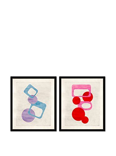 Soicher Marin Set of 2 Mod Giclée Reproductions, Blue/Purple/Red/Pink