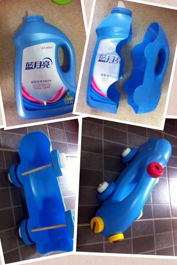 Brinquedo infantil com garrafa pet.