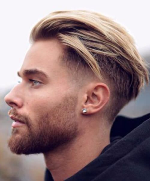 Blonde Textured Slick Back Low Fade Haircut Long Slicked Back Hair Slicked Back Hair Mens Hairstyles Short