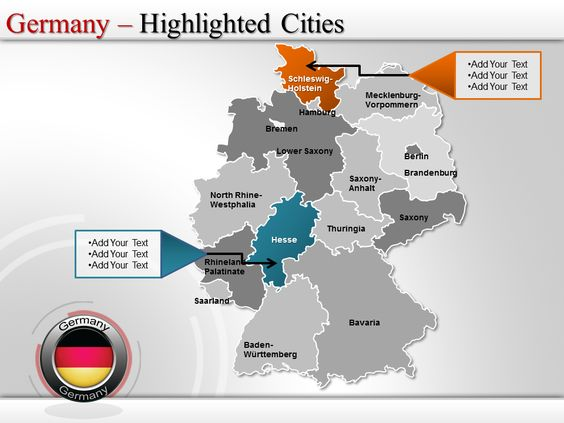 Map of germany highlighted cities germany powerpoint maps pinterest gumiabroncs Choice Image