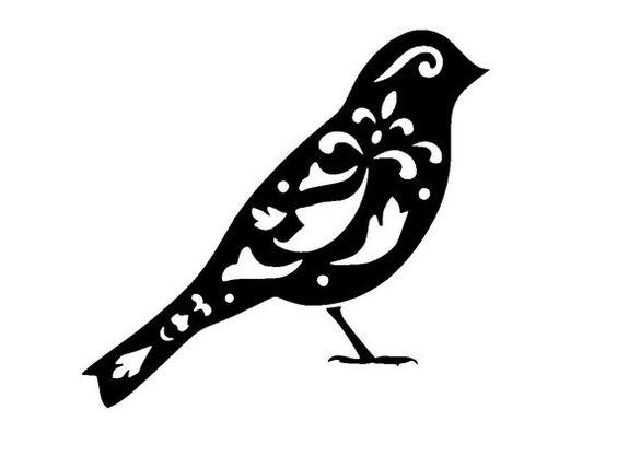 """6/6"""" Vintage bird design 2 stencil template."""