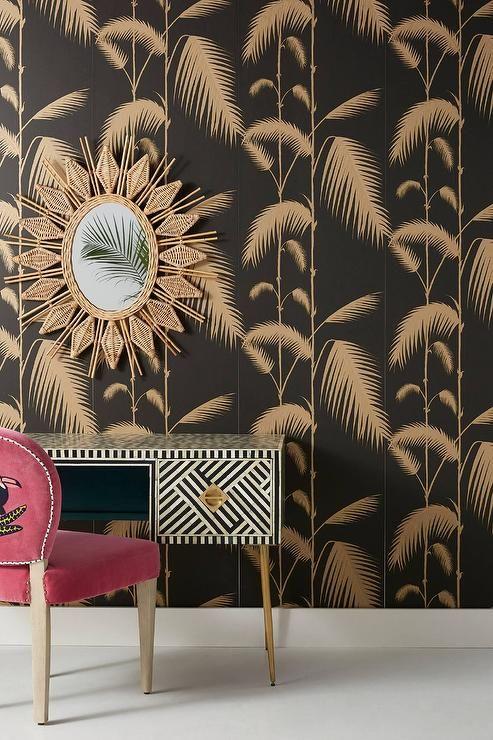 Palm Leaves Black Gold Wallpaper Palm Leaf Wallpaper Leaf Wallpaper Lotus Wallpaper