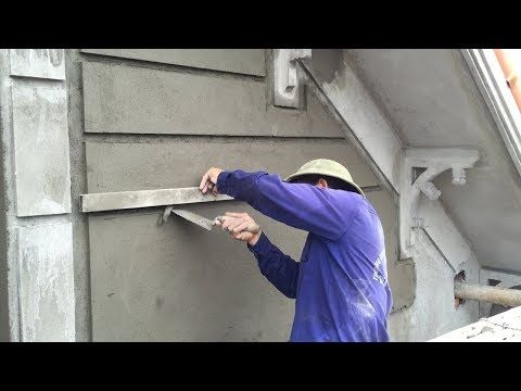 Construction Tips How To Rendering Sand And Cement On Concrete Wall Creative Workers Youtube Concrete Wall Exterior Wall Design Wall Texture Patterns